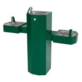 Barrier-Free Tri-Level Square Stainless Steel Pedestal Drinking Fountain