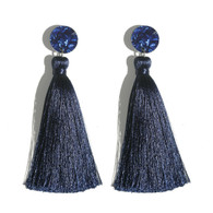 Martha Jean -Tassel Earrings - Navy