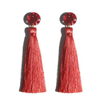 Martha Jean -Tassel Earrings - Red