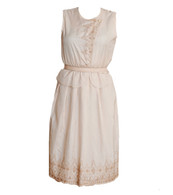 Vintage Cream Embroidered Dress with Peplum Waist