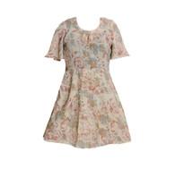 Vintage Cream & Pink Rose Print Dress