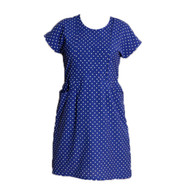 Vintage Blue & White Polka Dot Dress with Pockets