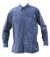 Vintage Blue Paisley Print Shirt