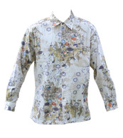 Vintage Cream Garden Print Cord Shirt