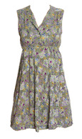 Vintage Green Floral Print Dress