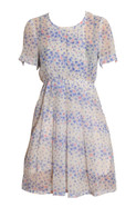 Vintage White with Blue and Pink Floral Print Dress