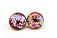 Kate and Rose Chocolate Donut Earrings