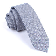 OTAA Navy Blue Herringbone Linen Skinny Tie