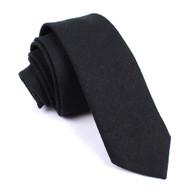 OTAA Black Linen Skinny Tie