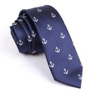 OTAA Navy Blue Anchor Skinny Tie
