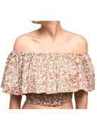Vintage Brown, Pink and Yellow Tiny Flowers Boho Top