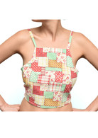 Vintage Red, Green and Cream Crop Top