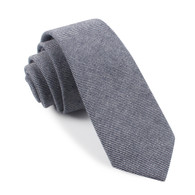 OTAA Navy Blue & White Twill Stripe Linen Skinny Tie