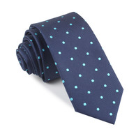 OTAA Navy Blue with Mint Blue Polka Dots Skinny Tie