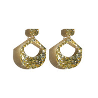Martha Jean Large Drop - Gold & Silver Glitter (Clip On) Earrings