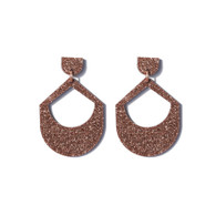 Martha Jean Large Drop - Copper Glitter (Clip on) Earrings