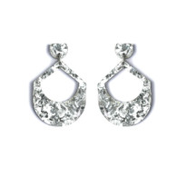 Martha Jean Large Drop - Silver Glitter (Clip on) Earrings