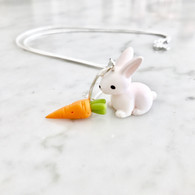 Kate and Rose Easter Bunny and Carrot Necklace