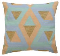Langdon Hex Cushion Mint/Blue/Peach
