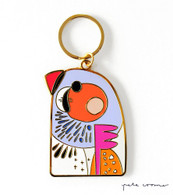 Zebra Finch Key Ring