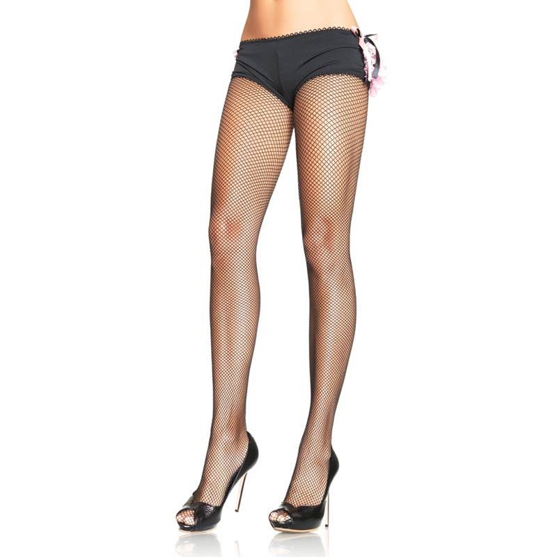 Black Spandex Fishnet Pantyhose - Front