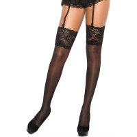 Black Lace Top Thigh High Stockings