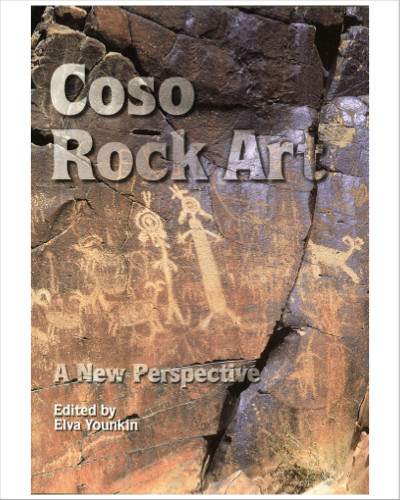 Coso Rock Art:  A New Perspective, edited by Elva Younkin.  The book describes changes and advances made in dating and interpreting rock art and looks at how these changes relate to the rock art of the Cosos. Chapters are by Dr. David Whitley and other experts in the field. Many photos and illustrations, including several color plates. 182 pages.