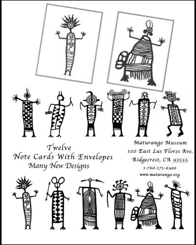 Blank notecards by Milt Burford with assorted Coso Petroglyph designs. Package of 12.