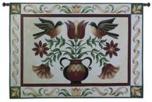 Folk Robins Wall Tapestry Wall Tapestry