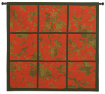 Floral Division Red Gold Black Large Wall Tapestry Wall Tapestry