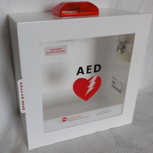 AED -JL-Wall Cabinet: Surface Mount with Alarm & Strobe
