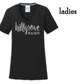 Ladies' Black Performance V NECK Tee with Silver Glitter HILLGROVE BANDS Design
