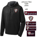 Adult Performance Colorblock Black/Gray Hoodie with HILLGROVE BANDS Embroidered Design