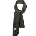 Fleece Scarf- Black Heather Charcoal - with Embroidered HILLGROVE BANDS Crest