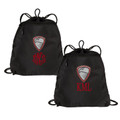 Black Track Bag with EMBROIDERED CREST and Monogram