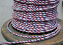 Red White & Blue Round Cloth Covered 3-Wire Cord, Nylon - PER FOOT