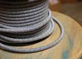 Black/White Zig Zag Round Cloth Covered 3-Wire Cord, Cotton