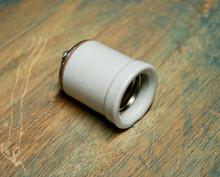 Large Lipped Porcelain Light Socket - Lamp Holder w/ Shoulder