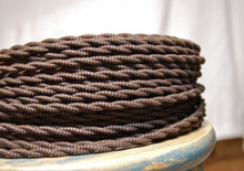 Black & Brown Zig Zag Patterned Color Cord - Twisted Cotton Cloth Covered Wire