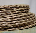 Brown & Tan Zig Zag Patterned Color Cord - Twisted Cotton Cloth Covered Wire
