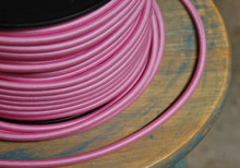 Fabric Braided Color Wire: Pink Round Cloth Covered 3-Wire Cord, Nylon - PER FOOT