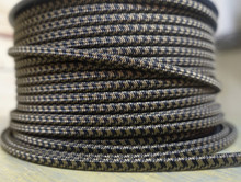 Black & Brown Houndstooth Parallel (Flat) Cloth Covered Wire, Nylon
