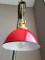 "Red Porcelain Enamel Shade: 7"" Industrial Dome, 2-1/4"" fitter, Metal Lampshade"