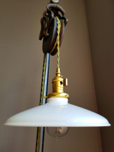 """White Porcelain Enamel Shade: 10"""" Rounded Industrial Steel, 2-1/4"""" fitter, Metal Lampshade"""