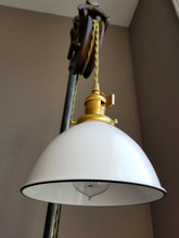 """White Porcelain Enamel Shade: 7"""" Industrial Dome, 2-1/4"""" fitter, Metal Lampshade"""