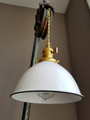 "White Porcelain Enamel Shade: 7"" Industrial Dome, 2-1/4"" fitter, Metal Lampshade"