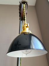 "Black Porcelain Enamel Shade: 7"" Industrial Dome, 2-1/4"" fitter, Metal Lampshade"