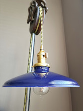 "Blue Porcelain Enamel Shade: 10"" Rounded Industrial Steel, 2-1/4"" fitter, Metal Lampshade"