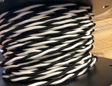 Black & White 2-Wire Twisted Cloth Covered Wire, Cotton - PER FOOT