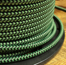 Black & Neon Green Hounds Tooth Round Cloth Covered 3-Wire Cord, Nylon - PER FOOT